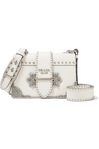 e3a89b0b04e6f7 Prada | Cahier embellished leather shoulder bag | NET-A-PORTER.COM