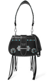 Folk tasseled embellished leather shoulder bag