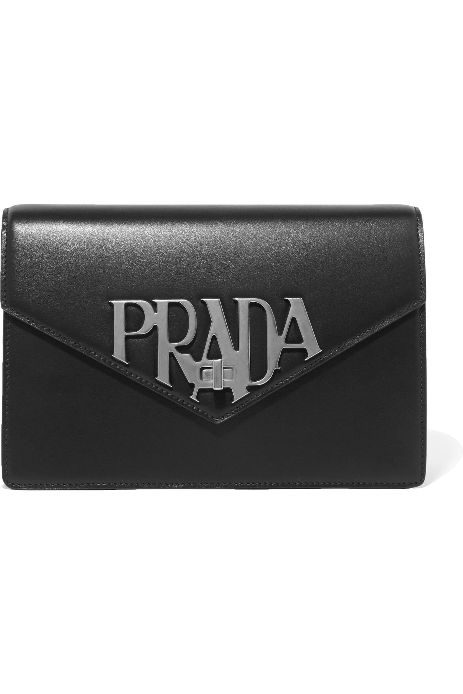 Prada Logo Liberty leather shoulder bag