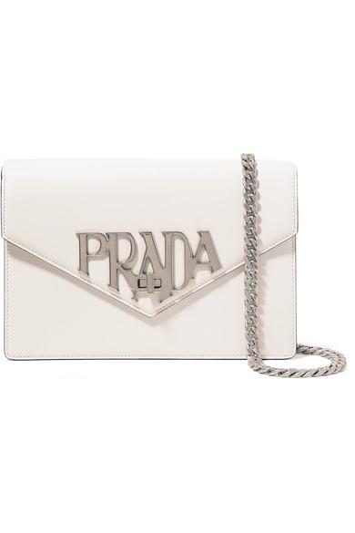Prada - Logo Liberty Leather Shoulder Bag - White