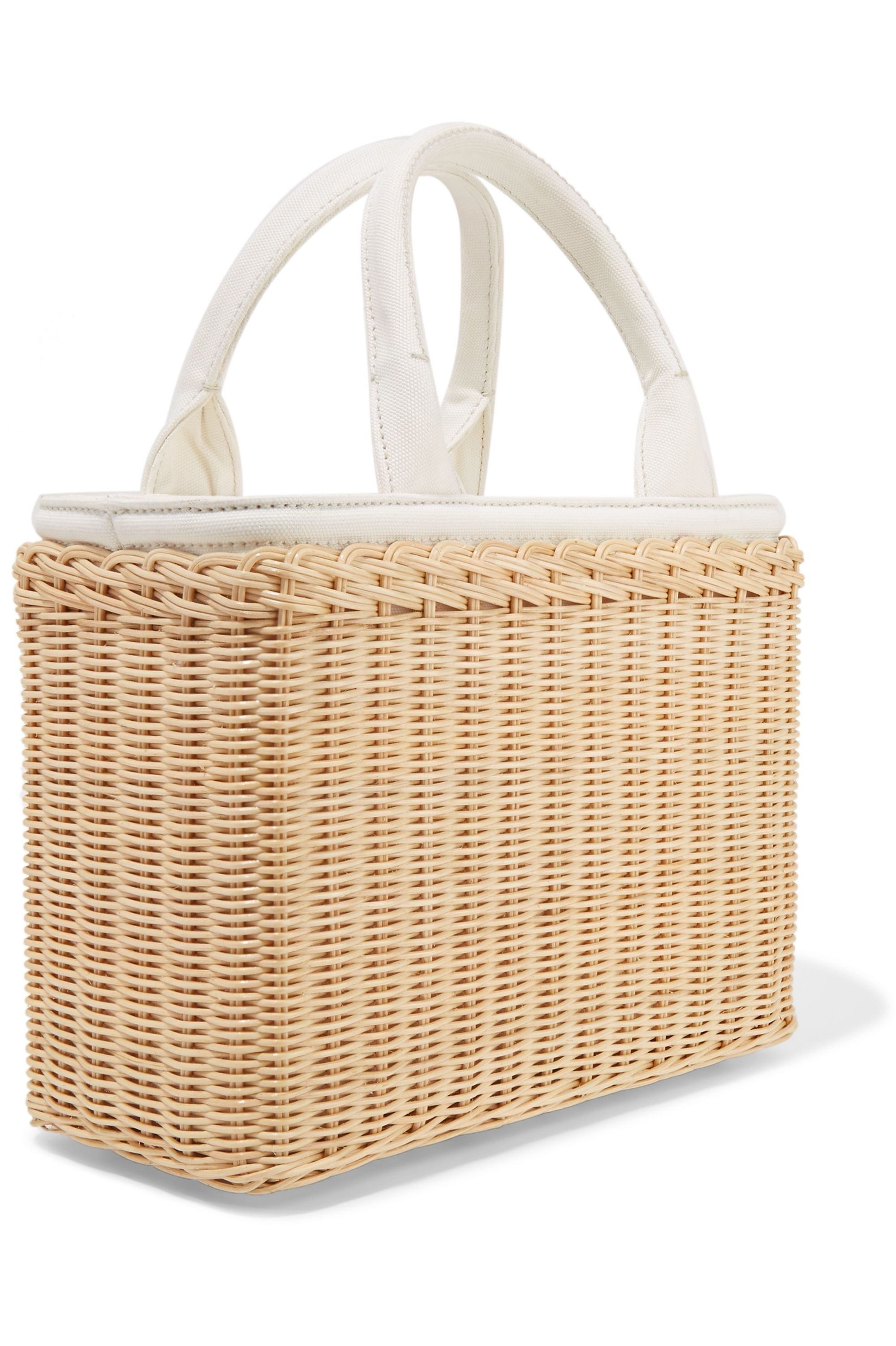 Prada Midollino tasseled canvas and leather-trimmed wicker tote