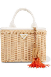 Midollino tasseled canvas and leather-trimmed wicker tote