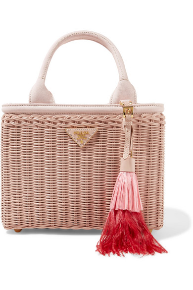 Midollino Tasseled Canvas And Leather-Trimmed Bamboo Tote, Pesca