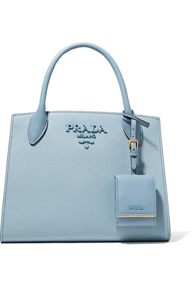 Prada - Textured-leather Tote - Light blue at NET-A-PORTER