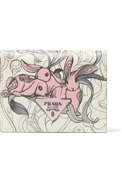 Prada Bedrucktes Portemonnaie aus strukturiertem Leder