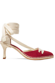 Castañer + Manolo Blahnik By Day canvas and raffia pumps