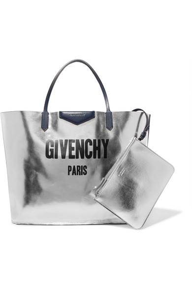 Givenchy Antigona wendbare Tote aus bedrucktem Veloursleder und Metallic-Leder
