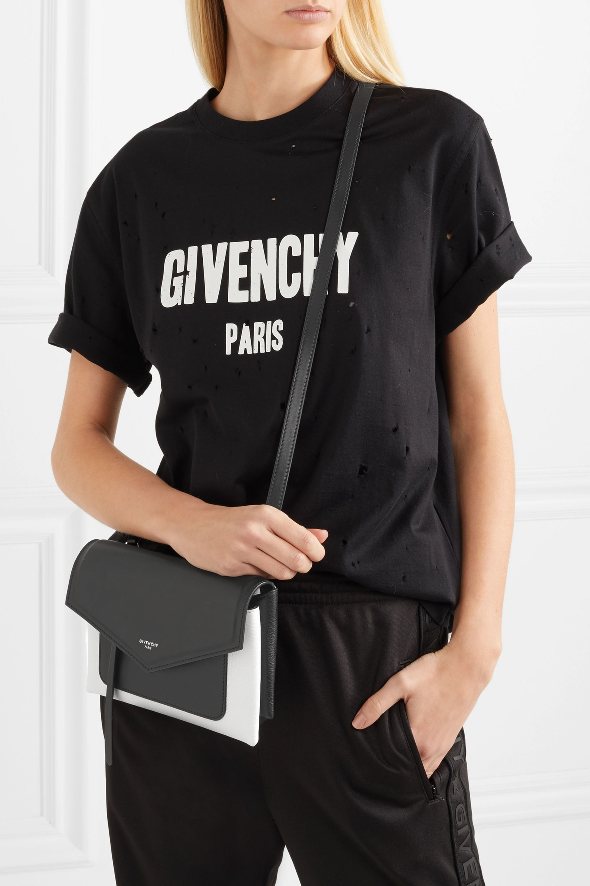 Givenchy Duetto two-tone smooth and textured-leather shoulder bag