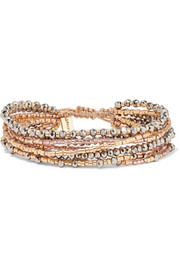 Chan Luu Gold, silver and rose gold-tone beaded wrap bracelet