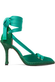 Castañer + Manolo Blahnik By Night satin and raffia pumps