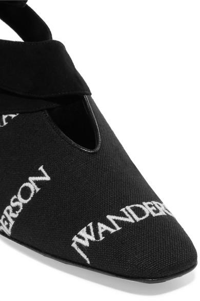 JW Anderson Pumps aus Canvas mit Velourslederbesatz und Logostickereien