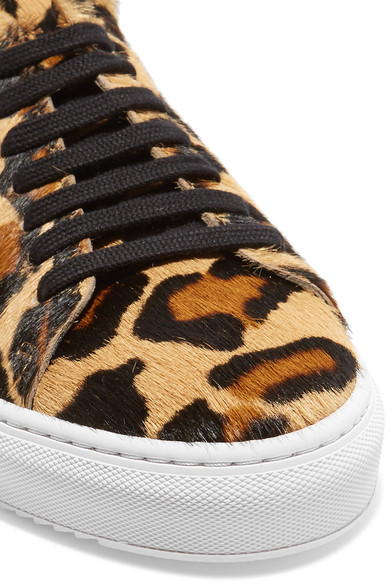 Axel Arigato Tennis Sneakers aus Kalbshaar mit Leopardenprint und Lederbesatz