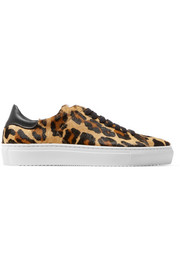 Tennis leather-trimmed leopard-print calf hair sneakers