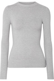 Stretch cotton-blend sweater