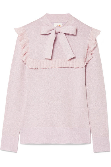 JoosTricot - Ruffled Pussy-bow Lurex Sweater - Lilac