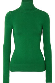 Stretch cotton-blend turtleneck sweater