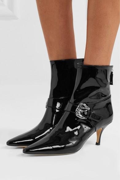 DORATEYMUR Saloon Ankle Boots aus Lackleder mit Schnallenverzierung