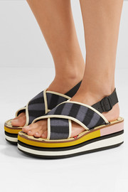 Marni Leather-trimmed woven canvas platform slingback sandals