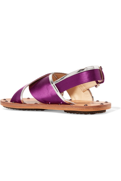 Marni Studded Mirrored Leather-trimmed Satin Slingback Sandals Cheap The Cheapest Cheap Best Wholesale qEw8FFk