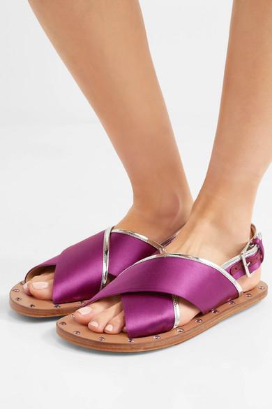 Rabatt Offizielle Seite Erkunden Günstigen Preis Marni Slingback-Sandalen aus Satin mit Besatz aus verspiegeltem Leder und Nieten Spielraum Gut Verkaufen WJgaOCI