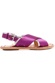 Marni Studded mirrored leather-trimmed satin slingback sandals