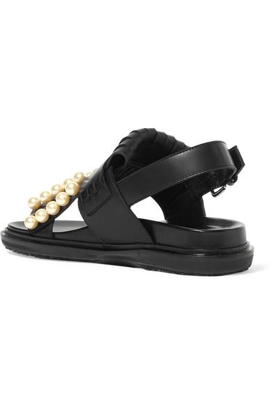 Marni Verzierte Slingback-Sandalen aus Leder mit Haferlasche