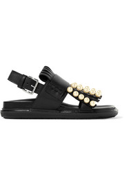 Marni Embellished fringed leather slingback sandals