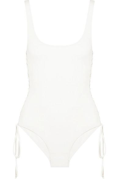 Melissa Odabash - Cuba Lace-up Swimsuit - Off-white