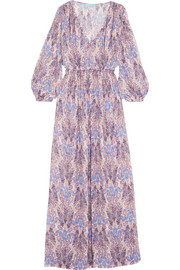 Melissa Odabash Alison smocked printed voile maxi dress