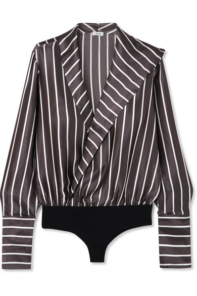 Alix READE WRAP-EFFECT STRIPED SILK-SATIN AND STRETCH-JERSEY BODYSUIT