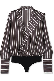 Reade wrap-effect striped silk-satin and jersey bodysuit