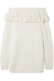 ELEVEN SIX Bailey fringed off-the-shoulder alpaca-blend sweater