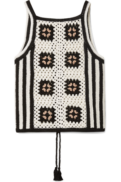 ELEVEN SIX - Alexia Tie-back Crocheted Pima Cotton Tank - White