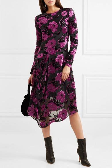 Preen by Thornton Bregazzi Alyssa drapiertes Kleid aus Devoré-Chiffon