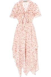 Flora floral-print silk-chiffon midi dress