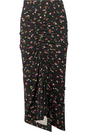 Preen by Thornton Bregazzi Jessica ruched floral-print stretch-crepe midi skirt