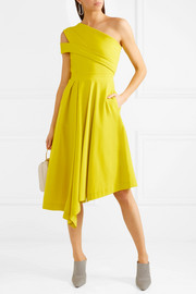 Danica asymmetric pleated stretch-crepe dress