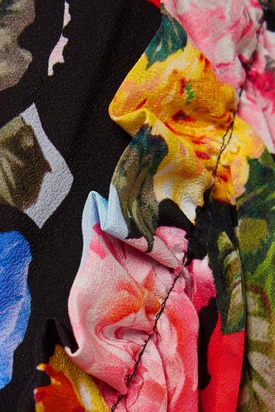 Preen by Thornton Bregazzi Gerafftes Midikleid aus Crêpe de Chine aus Seide mit Blumendruck Spielraum Online Offizielle Seite hjgiH