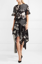 Veronika paneled printed silk skirt