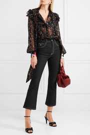 Billy ruffled floral-print silk-jacquard blouse