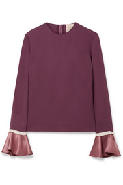 Saba satin-trimmed silk-crepe blouse