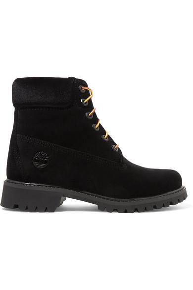 Off-White - Timberland Logo-embossed Velvet Ankle Boots - Black