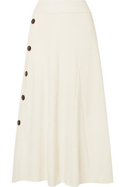Kaori button-detailed ribbed wool-blend midi skirt