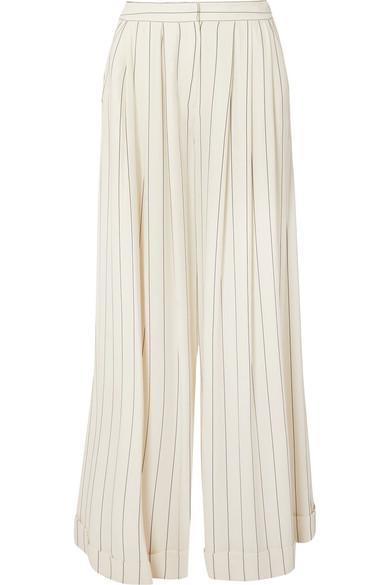 Roksanda Zohra Striped Pants With Wide Leg From Crêpe De Chine