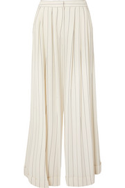 Zohra striped crepe de chine wide-leg pants