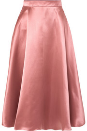 Silk-satin midi skirt