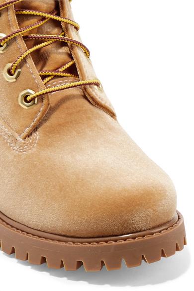 Off-White + Timberland Ankle Boots aus Samt mit Logoprägung Rabatt Nicekicks Kaufen Sie Günstig Online Einkaufen kRXDHPgY