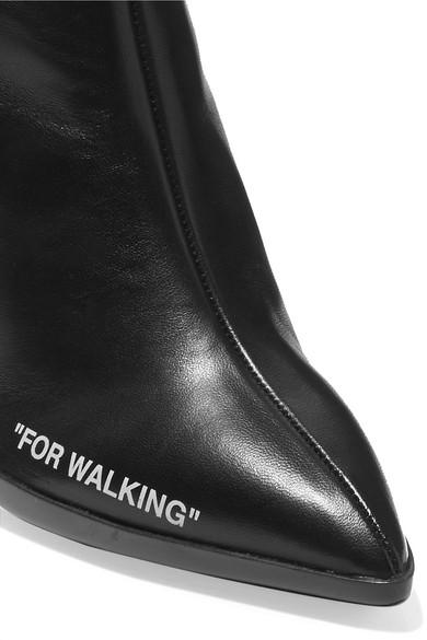 Off-White For Walking Ankle Boots aus bedrucktem Leder und Jacquard mit Logo Spielraum Komfortabel QHtqyvZm