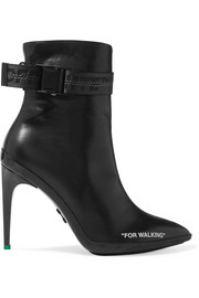 For Walking logo-jacquard printed leather ankle boots