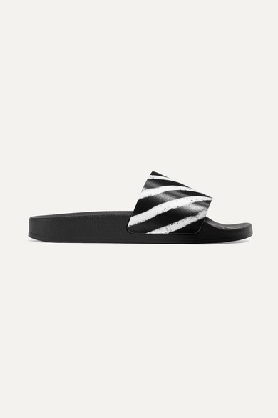 Off-White - Off Spray Printed Rubber Slides - Black